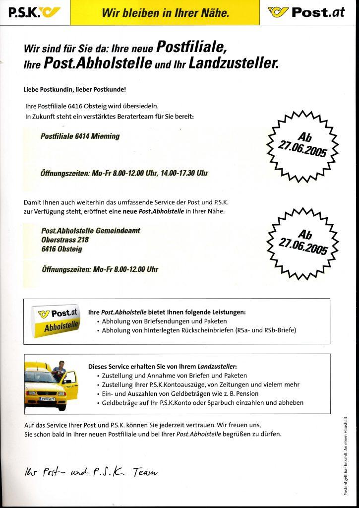Neue Postfiliale ab 27.06.2005