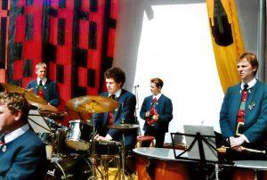 Schlagzeug, v.l.: Christoph Patterer, ? , Sandro Petutschnig, Oswald Valtiner