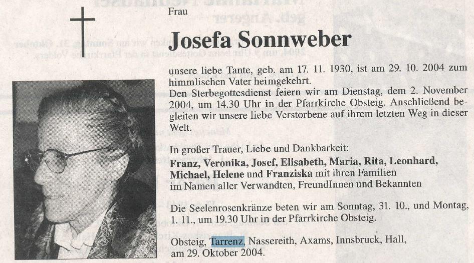 Sterbebild Josefa Sonnweber