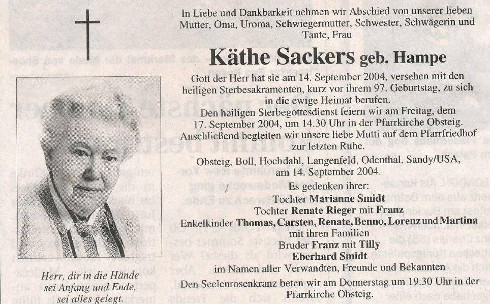 Sterbebild Käthe Sackers