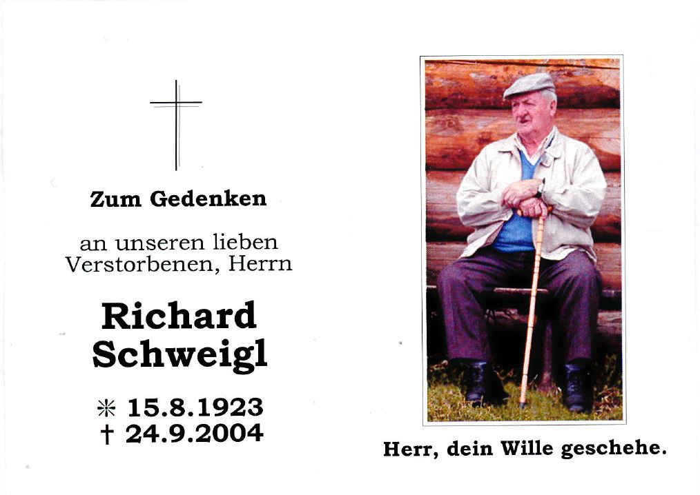 Sterbebild Richard Schweigl