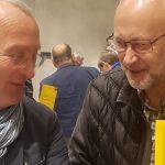 Herbert Krug und Hannes Faimann beim Bezirkschronistentag in Längenfeld. Foto: Sabine Ortner/Chronik Obsteig